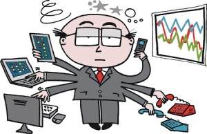 12804027 - vector cartoon of overworked business executive