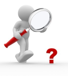 14814921 - 3d people - man, person with magnifying glass question mark red search.
